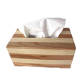 Customize square wooden striped tissue box