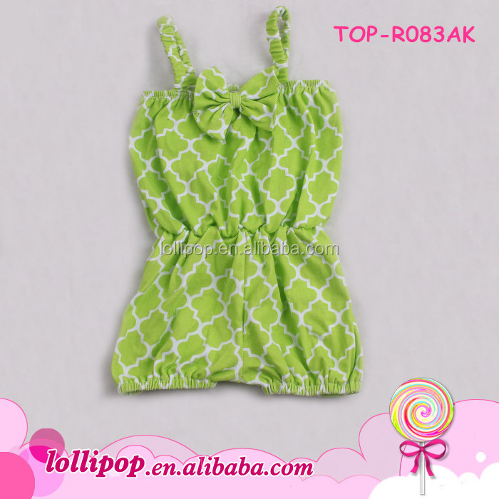2016 Best-selling lovely quatrefoil bowknot girls rompers wholesale carters baby clothes