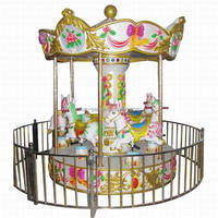 Funny Interesting Mini 6 Seats Carousel /Kid Rides Merry-go-round coating Horse