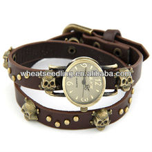 2014 Newest 4 Colors Classic Skull Design Lady Leather Bracelet men watch 2014