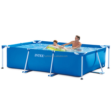 Intex 28270 Metal Frame Durable Family Rectangular Swimming Pool