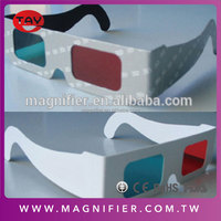 3D glasses red cyan/blue anaglyph lens white paper card frame 3d movie white paper full frames glasses