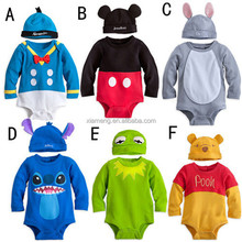 2 piece spring sleepwear bodysuit Lovely cotton long sleeve animal baby romper with cute hat