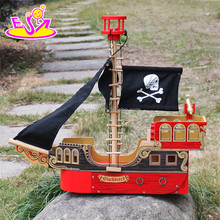 2017 Top fashion children imagine shark bite pirate ship wooden toy pirate ship & pirate play set W03B060-S