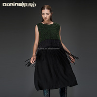 Small Order Wholesale Sleeveless Lace Ebellished Wool Long Ladies Winter Dress Designs