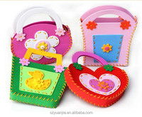 Various color and shape handbag toy kids, eva foam toys carrying bag patterned with animals and flowers