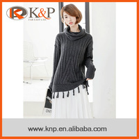 Chinese manufacturer newest style ribs design knit sweater women