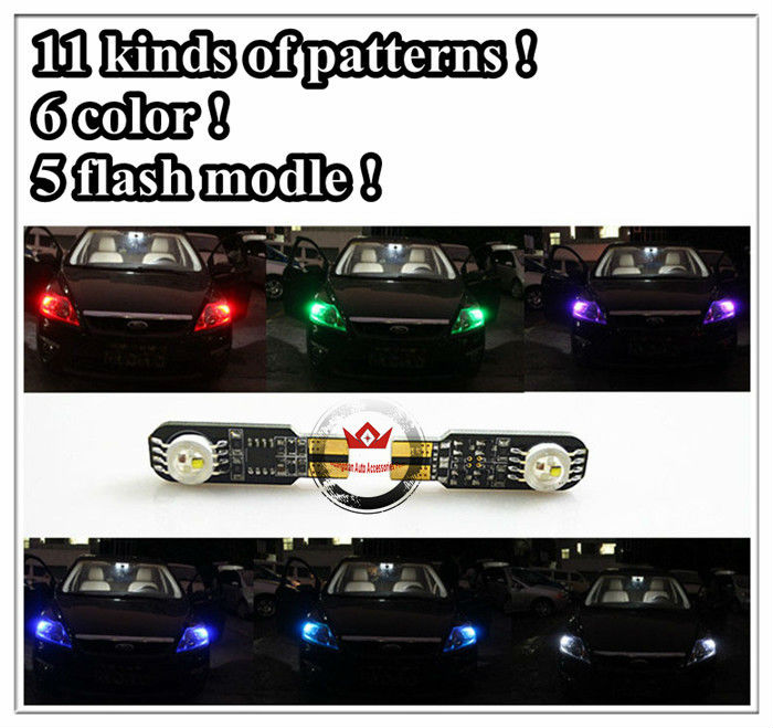 high power color changeable beautiful car t10 11patterns 6color width lamp