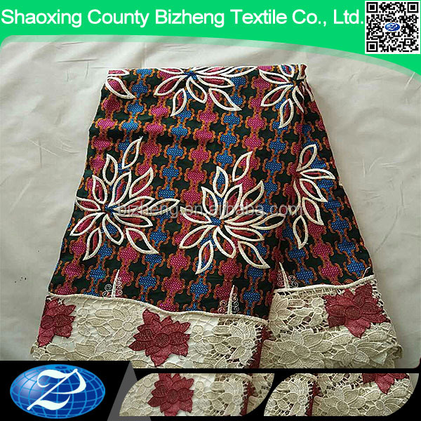 wholesale cord lace border african veritable real wax print ankara fabric for dress