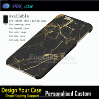 2016 New Fashion Black Gold marble design cell phone case for iphone 6 cover