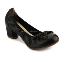 2016 Genuine leather high class dress shoes comfortable elegant bowknot ladies office black fancy low heel shoes