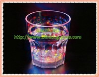 LED Flashing Light Up Dice whiskey Glass Cup, music activated flashing cup