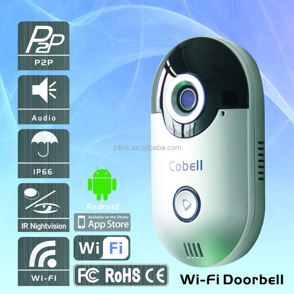 Security IP Wi-Fi Doorbell camera with P2P 2-way audio and support 3G,4G, WIFI with smart phone App