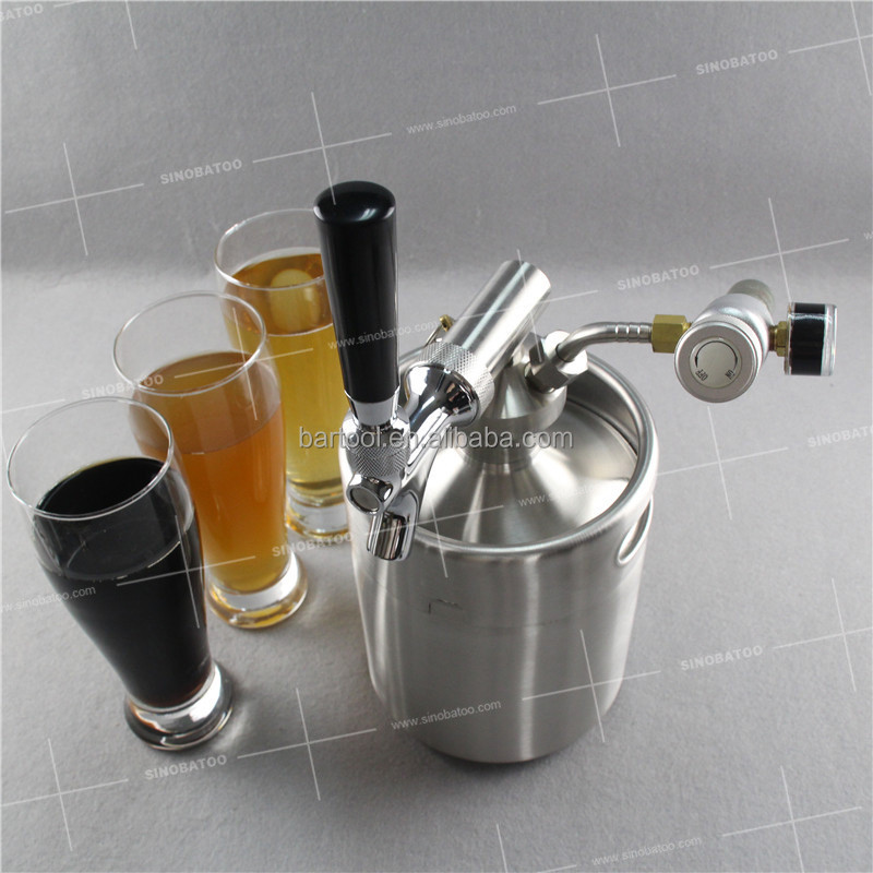 5L stainless steel beer mini keg growler with tapping system, exclusive logo