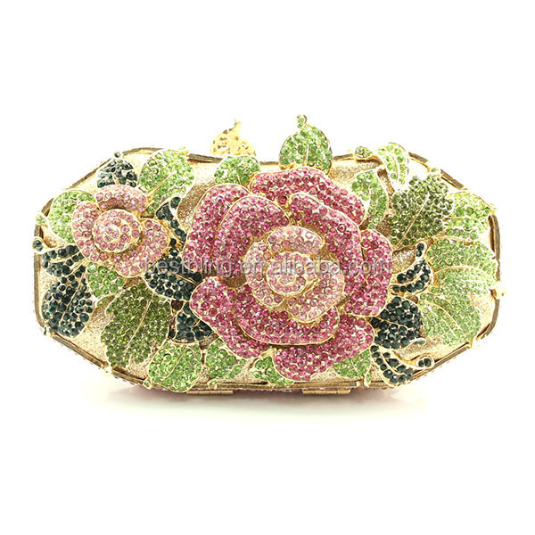 2015 New Rose flower designer crystal rhinestone clutch party evening bags