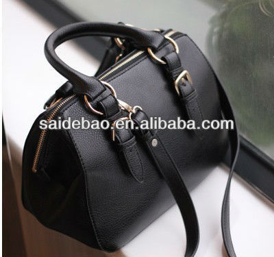 high quality genuine leather ladies casual black handbag for shopping