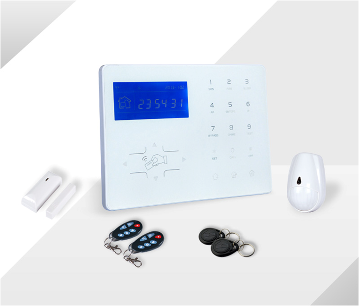 GSM Alarm System with Touch Keypad and Wireless Doorbell/Glass surface touch key PSTN+GSM home security alarm system/GPRS alarm