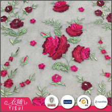 Cheap price fancy design handwork floral embroidery bird eye mesh fabric