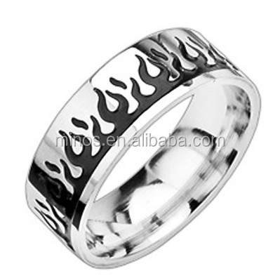Stainless Steel Two Tone Light My Fire Ring, 316l Stainless Steel Jewelry Fashion Rings