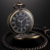 Antique Death Reaper Chain Pendant Quartz Male Pocket Watch