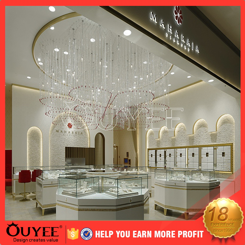 2017 Fashion style custom made retail jewelry store interior design acrylic kiosk for diamond rings