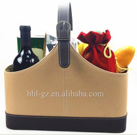 Handcrafted PU Leather magazine baskets holiday gift wine cheese picnic baskets wine holder flowers and fruit basket L21-28
