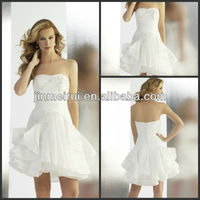 Charming strapless pleat ruched beaded appliqued satin mini a-line white sexy wedding night dresses