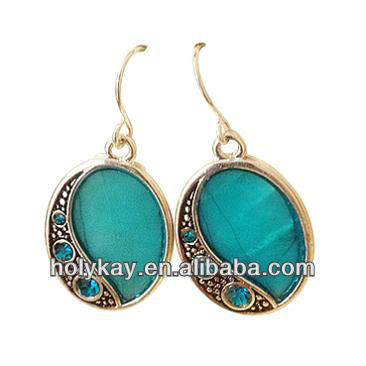 Turquoise stone earrings,Indian gemstone jewelry,Big ball fancy earrings