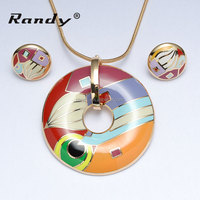 Enamel Pendant Necklace and Studs Earring Sets