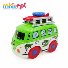 Lovely mini metal toy car friction travel bus model for kids