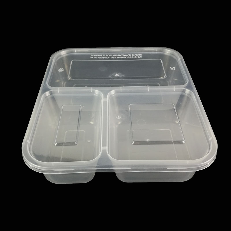 plastic tray food 3 compartment packaging