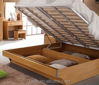 Teak Colour Wood Double Bed Designs with Box