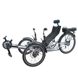 Adult 250 Watt Two Front Wheels One Rear Wheel Electric Recumbent Leaning Tricycle