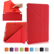 For iPad Air 2 / Air 1 Smart Case 5 Shapes Stand Ultra Thin PU Leather Cover Silicon Soft Case For iPad 5 / 6 Auto Sleep/Wake up