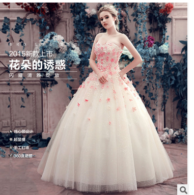 Tulle Colorful Flower Appliqued Strapless Ball Gown Wedding Dress