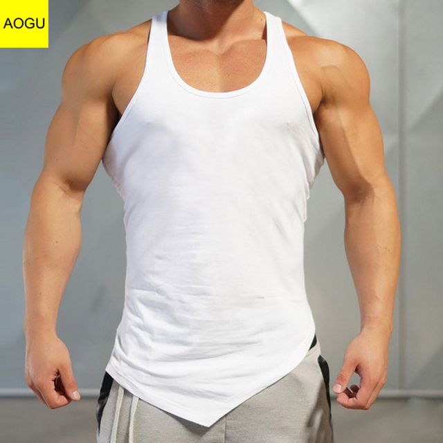 Top quality 95%Cotton5%Spandex fitness bodybuilding mens gym singlets