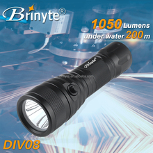 1050 Lumens Magnetic Switch Backup Diving Flashlight Brinyte DIV08