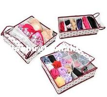 3 pcs/set Foldable Storage Box With cover Non-woven fabrics for bra,underwear,necktie,socks