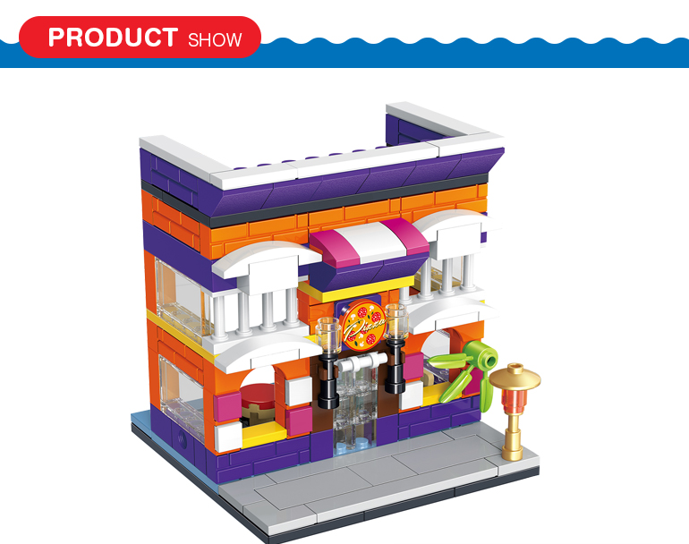 145 pcs diy 3d city street series pizzeria model connect bricks toys for role playing