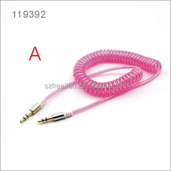 Spring Coil Retractable 3.5mm Stereo Auxiliary Cable Male to Male Audio Aux Cord