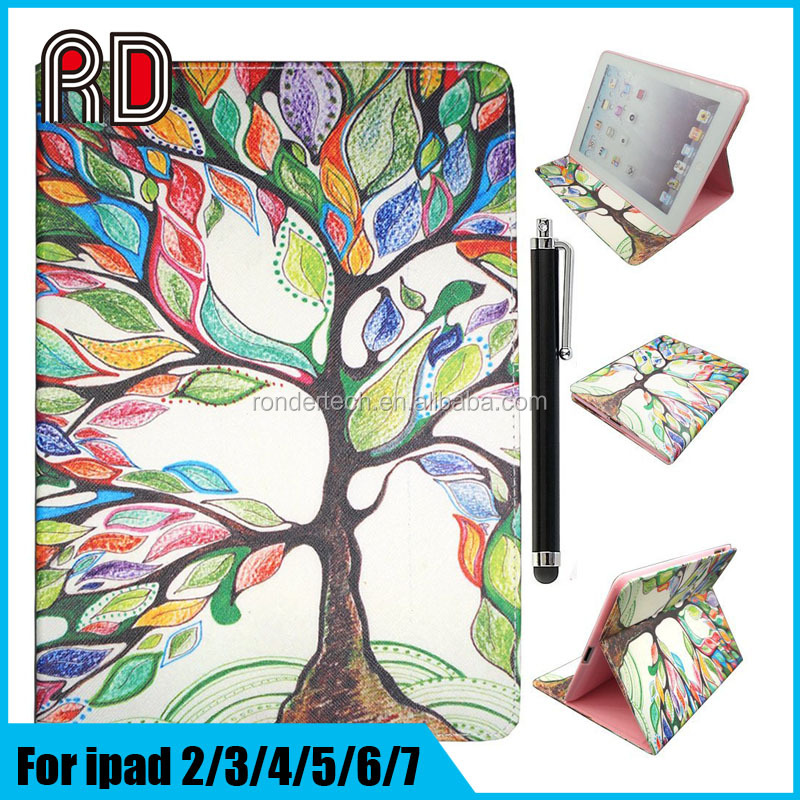 Factory Wholesale 3D Perspective Painted Leather Durable Flip Stand Case for Ipad 5/for Ipad Air Protective Table Case