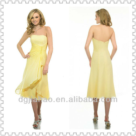 Tea Length Strapless Yellow Bridesmaid Dress 2013