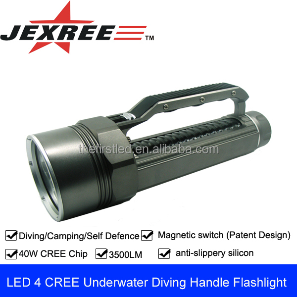 JEXREE Underwater heavy duty rechargeable flashlight handle torch light