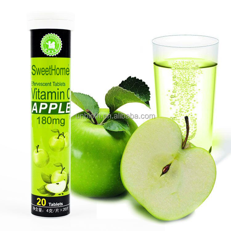 Health food suppment apple flavor Vitamin C 180mg VC effervescent tablets Immune function