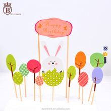 Cute Birthday Cake Topper Baking Decoration Flag DIY Party Supplies