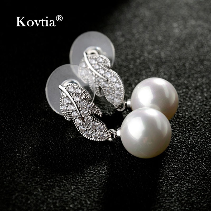 2017 Alibaba Online Shop Fashion White Gold Plated Leaf Pearl Earrings Designs in 10 Grams