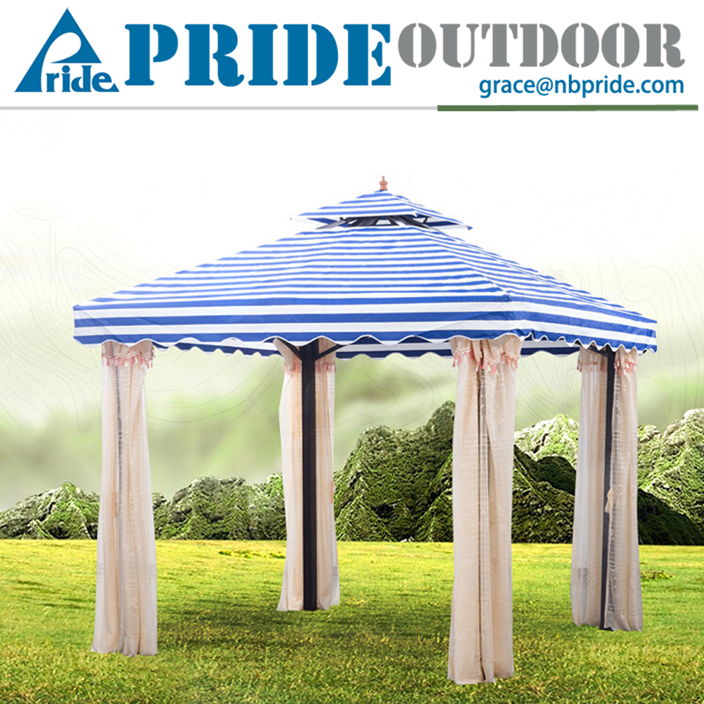 3X3M Blue Stripes Garden Canopy With Mesh Insect Screen Waterproof Canvas Patio Gazebo