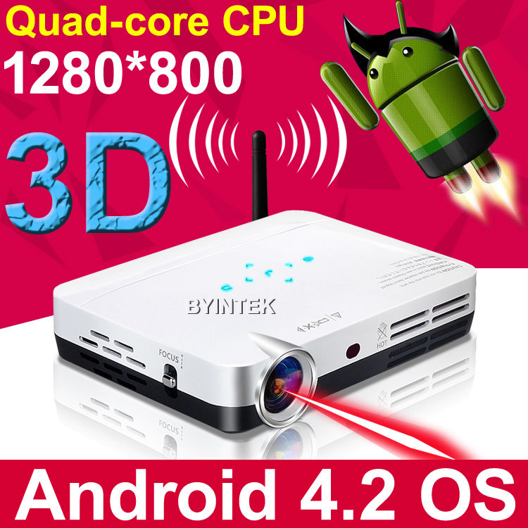 Android Home Theater HDMI USB 1200ANSI Portable HD 1280x800 3D Cinema LED 1080p DLP Mini Projector Proyector Beamer Projetor