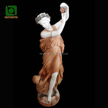 Marble Stone Garden Grape Lady with Dog Statue Carving