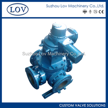 LOV Four Way Cast Material WCB Soft Seated PTFE Ball Valve